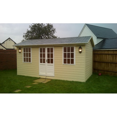 Wooden summer house garden shed garden studio office for Luxury garden sheds